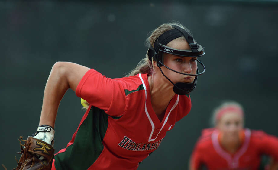 The Woodlands senior pitcher Abby Langkamp was another in what has become a string of elite players to come through the Highlander program under the leadership of coach Richard Jorgensen. Photo: Jerry Baker, Freelance