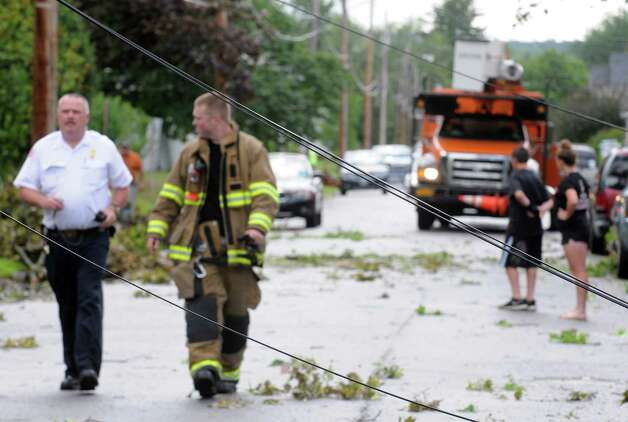 Downed utility lines on Sixth Street following a passing storm on Tuesday June 9, 2015 in Scotia , N.Y.  (Michael P. Farrell/Times Union) Photo: Michael P. Farrell