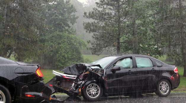 A view of a two-car pile up Monday afternoon, June 9, 2015, on Route 9 in Loudonville, N.Y. (Phoebe Sheehan/Special to the Times Union) Photo: PS
