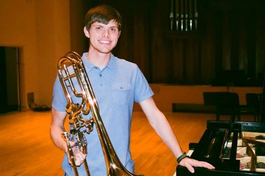 Jacob Small of Cypress won the only spot for a bass trombone player in the 26th annual Immanuel and Helen Olshan Texas Music Festival through June 27. Photo: Courtesy