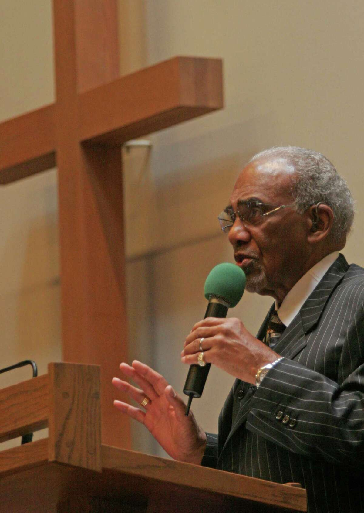"""Reverend Samuel McKinney at Mt. Zion Baptist Church. """"The Mountain"""" was its pastor for more than 44 years, and the city's preeminent civil rights leader. He was a regal warrior in the trenches."""