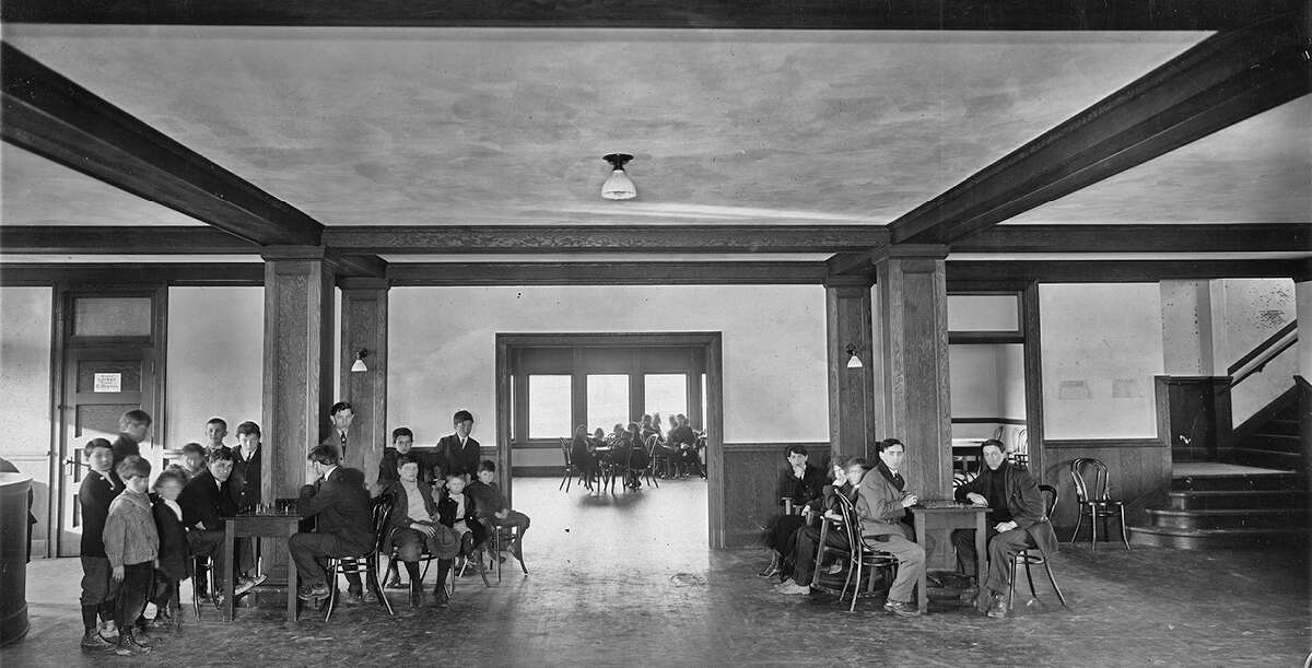 An interior view of Collins Field House, pictured in 1915.
