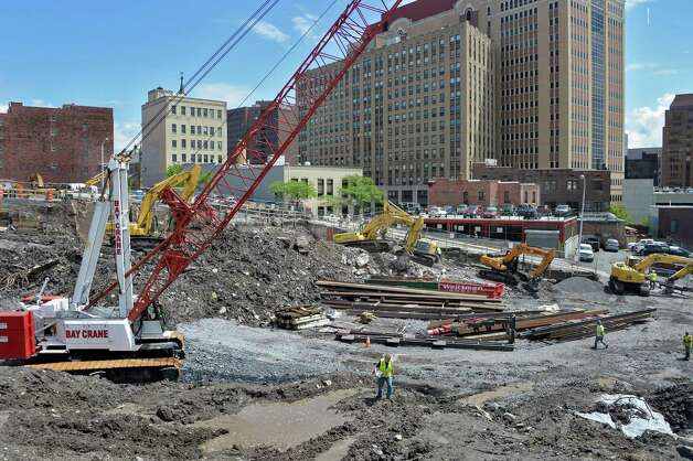 Work continues on the Albany Capital Center Site Tuesday June 9, 2015 in Albany, NY.  (John Carl D'Annibale / Times Union) Photo: John Carl D'Annibale / 00032202A