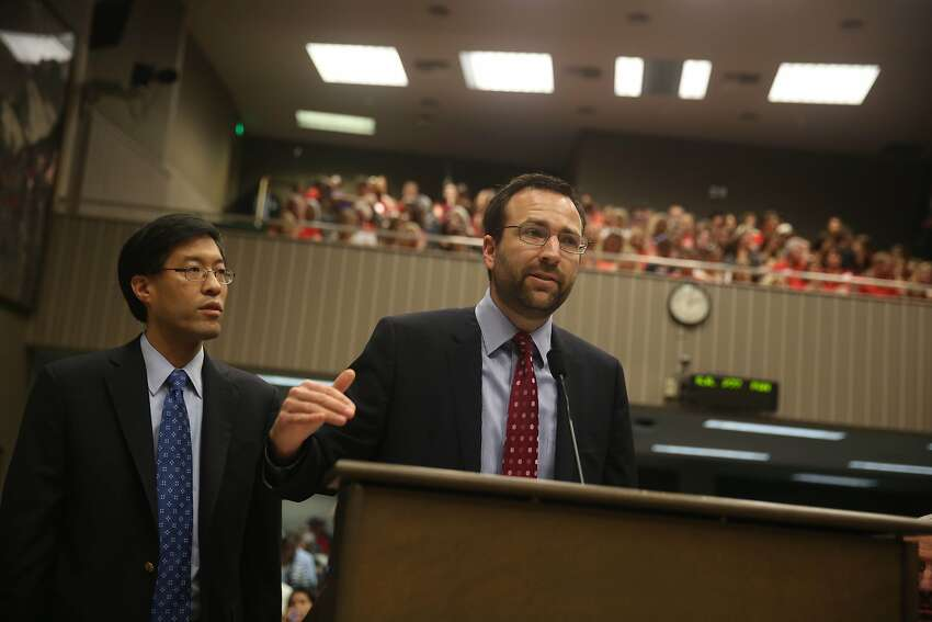 Senator Richard Pan (l to r) and Senator Ben Allen, co-authors of SB277, speak to the Assembly Health Committee during a hearing on SB 277 on Tuesday, June 9, 2015 in Sacramento, Calif.
