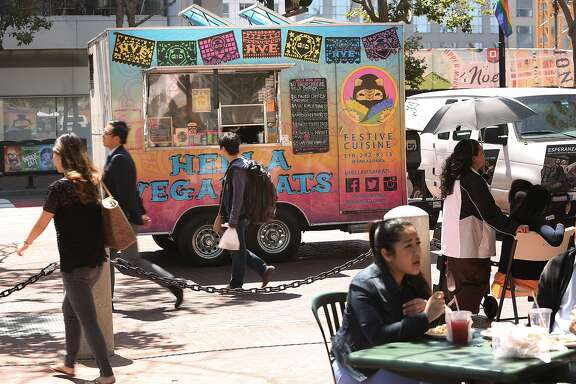 The Hella Vegan Eats truck is parked at the Heart of City Farmer's Market in San Francisco, California, on Wednesdays including today on June 3, 2015.