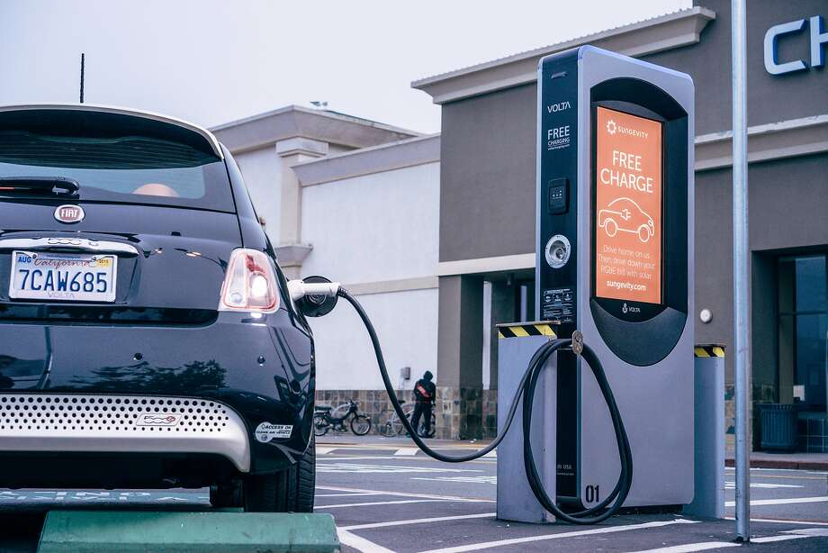 Volta Industries installs public EV charging stations that are sponsored by companies such as Whole Foods and Sungevity. Drivers can use them for free. Photo: Volta Industries