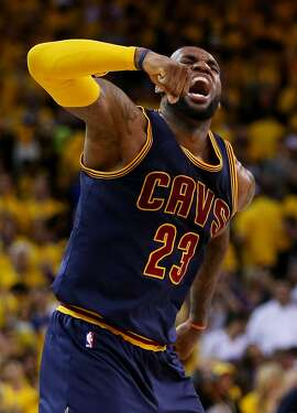 OAKLAND, CA - JUNE 07:  LeBron James #23 of the Cleveland Cavaliers celebrates their 95 to 93 win over the Golden State Warriors in overtime  during Game Two of the 2015 NBA Finals at ORACLE Arena on June 7, 2015 in Oakland, California. NOTE TO USER: User expressly acknowledges and agrees that, by downloading and or using this photograph, user is consenting to the terms and conditions of Getty Images License Agreement.  (Photo by Ezra Shaw/Getty Images) ***BESTPIX***