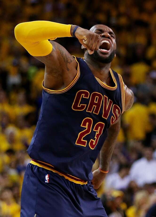 OAKLAND, CA - JUNE 07:  LeBron James #23 of the Cleveland Cavaliers celebrates their 95 to 93 win over the Golden State Warriors in overtime  during Game Two of the 2015 NBA Finals at ORACLE Arena on June 7, 2015 in Oakland, California. NOTE TO USER: User expressly acknowledges and agrees that, by downloading and or using this photograph, user is consenting to the terms and conditions of Getty Images License Agreement.  (Photo by Ezra Shaw/Getty Images) ***BESTPIX*** Photo: Ezra Shaw