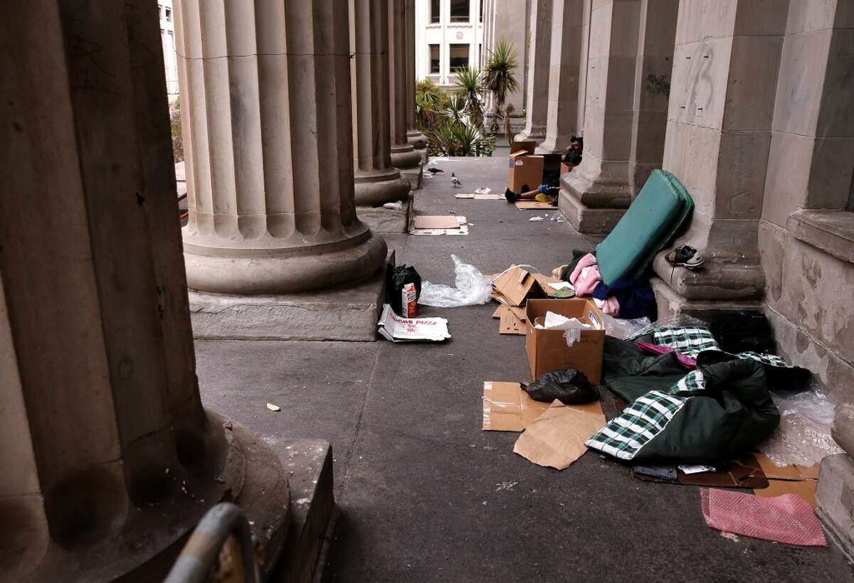 The homeless have set up living on the steps of the old United States Mint building in San Francisco, as seen on May, 28, 2015.