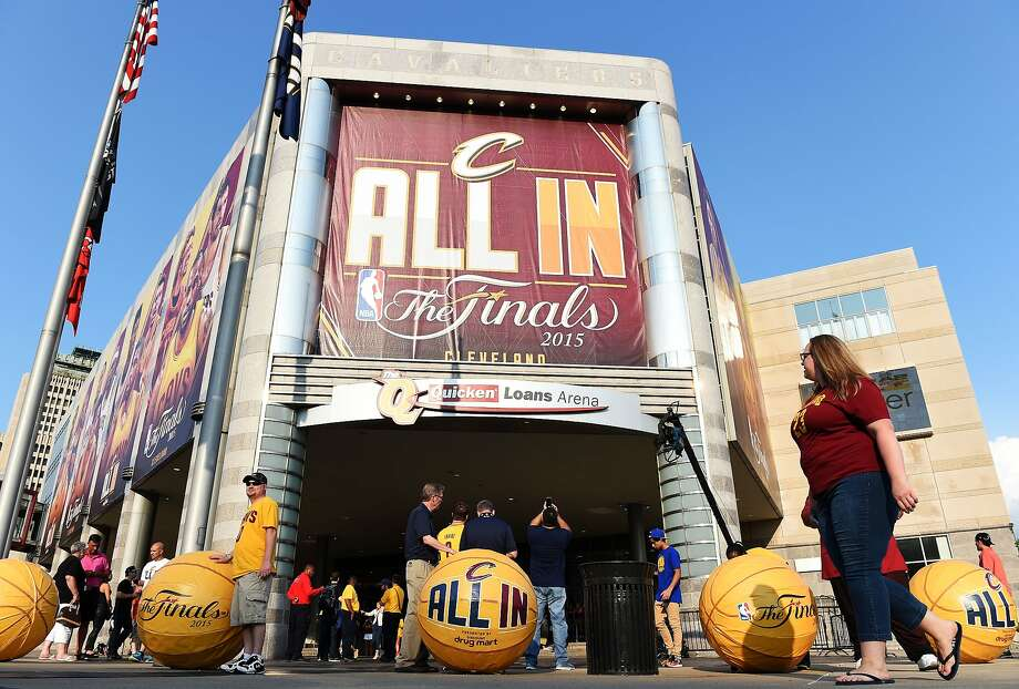 """The phrase """"All In"""" is all over Cleveland as the Cavaliers face the Warriors in pursuit of an NBA championship. Photo: Jason Miller, Getty Images"""