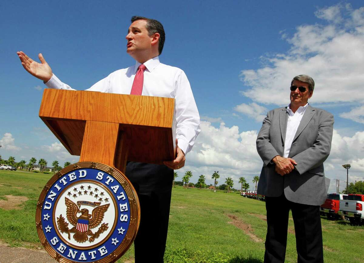 US Sen. Ted Cruz, R-Texas, talks about border security as Othal E. Brand Jr. stand beside him during a news conference near the U.S. Border Patrol Rio Grande Valley Sector headquarters Tuesday June 9, 2015 in Edinburg. Cruz, who is seeking the Republican nomination for President, was in the area to tour the local Border Patrol headquarters before attending a fund raiser. photo by Nathan Lambrecht/nlambrecht@themonitor.com