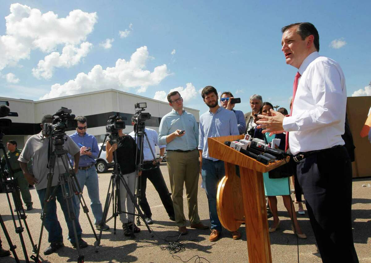 US Sen. Ted Cruz, R-Texas, talks about border security during a news conference near the U.S. Border Patrol Rio Grande Valley Sector headquarters Tuesday June 9, 2015 in Edinburg. Cruz, who is seeking the Republican nomination for President, was in the area to tour the local Border Patrol headquarters before attending a fund raiser. photo by Nathan Lambrecht/nlambrecht@themonitor.com