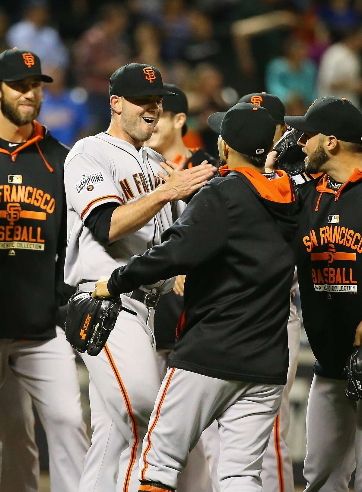 NEW YORK, NY - JUNE 09: Chris Heston #53 of the San Francisco Giants celebrates his no hitter with teamates against the New York Mets after their game at Citi Field on June 9, 2015 in New York City. (Photo by Al Bello/Getty Images)