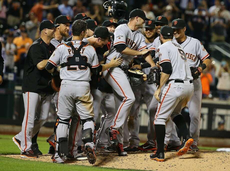 NEW YORK, NY - JUNE 09:  Chris Heston #53 of the San Francisco Giants celebrates his no hitter with teamates against the New York Mets  after their game at Citi Field on June 9, 2015 in New York City.  (Photo by Al Bello/Getty Images) Photo: Al Bello, Getty Images