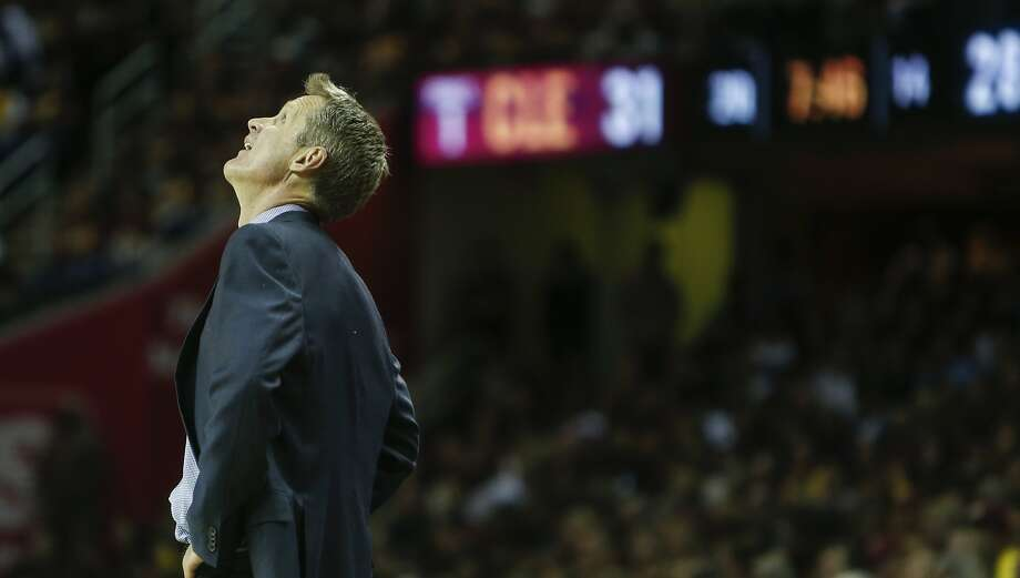 Golden State Warriors' Coach Steve Kerr looks up in the second period during Game 3 of The NBA Finals between the Golden State Warriors and Cleveland Cavaliers at The Quicken Loans Arena on Tuesday, June 9, 2015 in Cleveland, Ohio. Photo: Scott Strazzante, The Chronicle