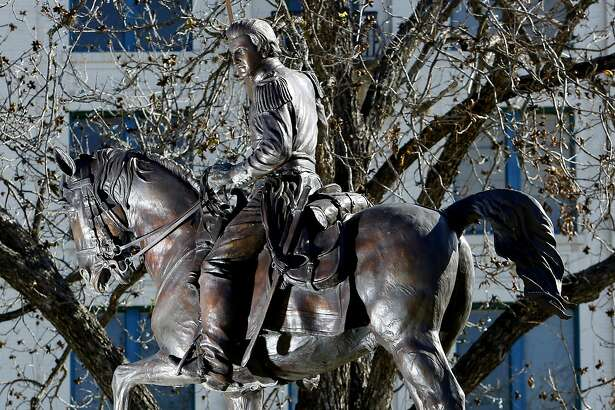 A statue depicting Juan Seguin is seen Dec. 16, 2014 in Seguin, Texas on the courthouse square.