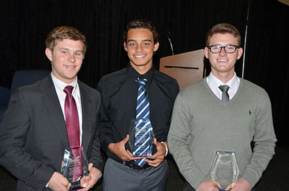 From left, Langham Creek High School outfielder Tyler Rand, Cypress Creek High School pitcher Jordan Hicks and Cypress Ranch High School pitcher Riley Gossett were recognized for being named to the HABCA All-Greater Houston Preseason High School Baseball Team.