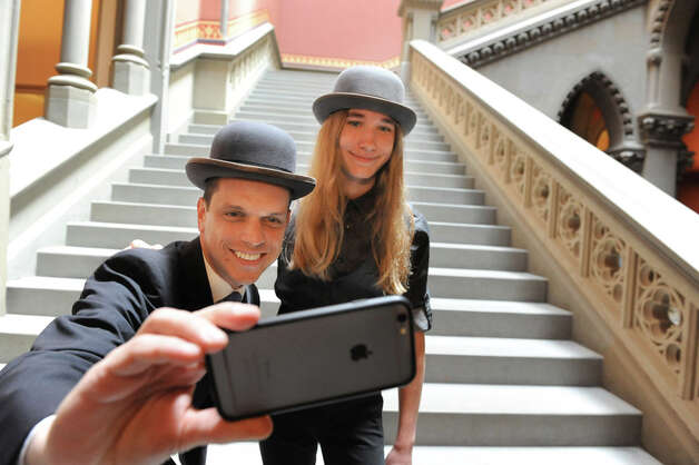 Assemblyman Angelo Santabarbara, left, takes a selfie with Sawyer Fredericks, winner of The Voice, on Tuesday, June 9, 2015, at the Capitol in Albany, N.Y. (Cindy Schultz / Times Union) Photo: Cindy Schultz, Albany Times Union / 00032213A