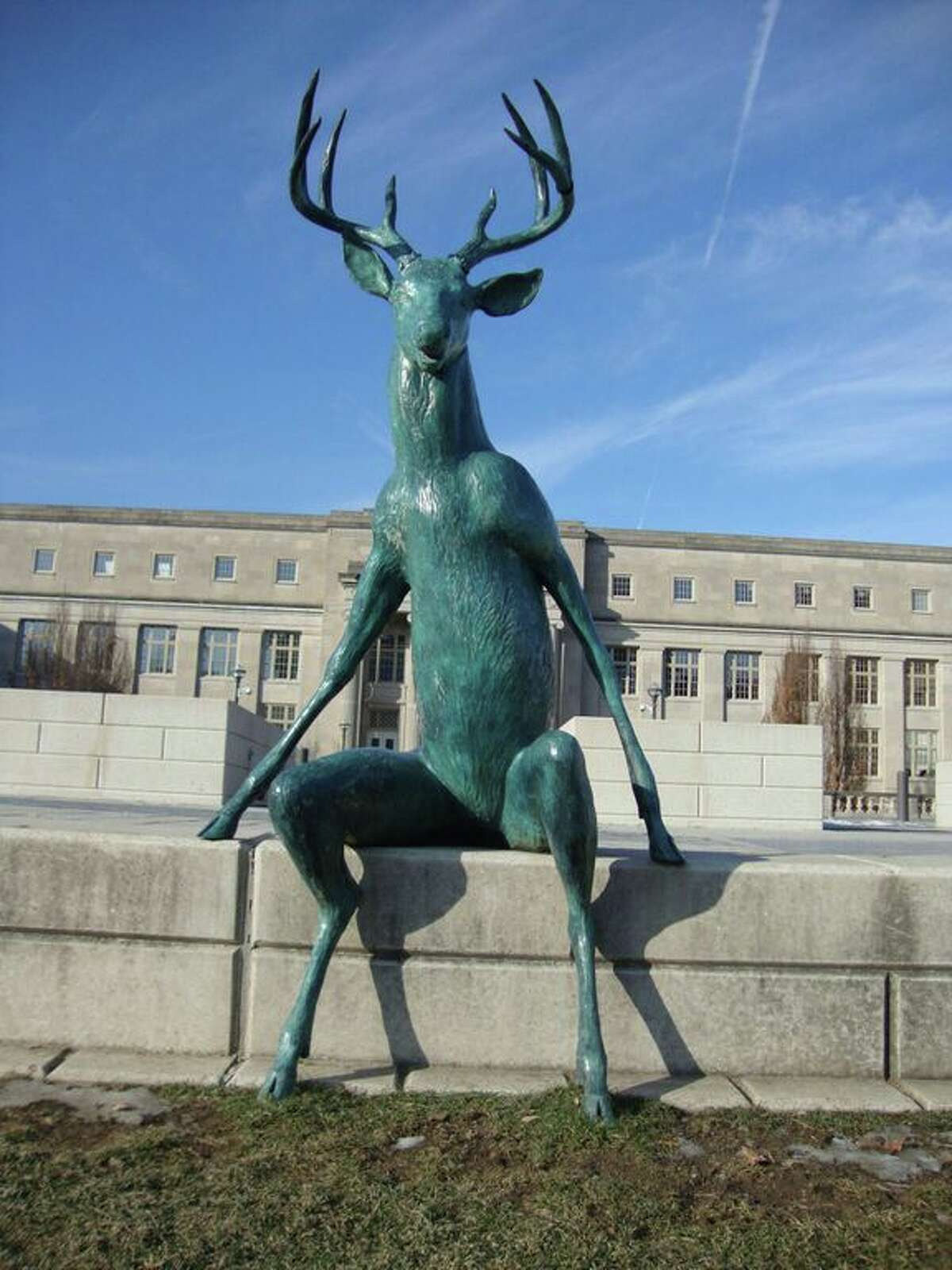 This sculpture of a deer is part of the new public art display on the river in Columbus, Ohio.