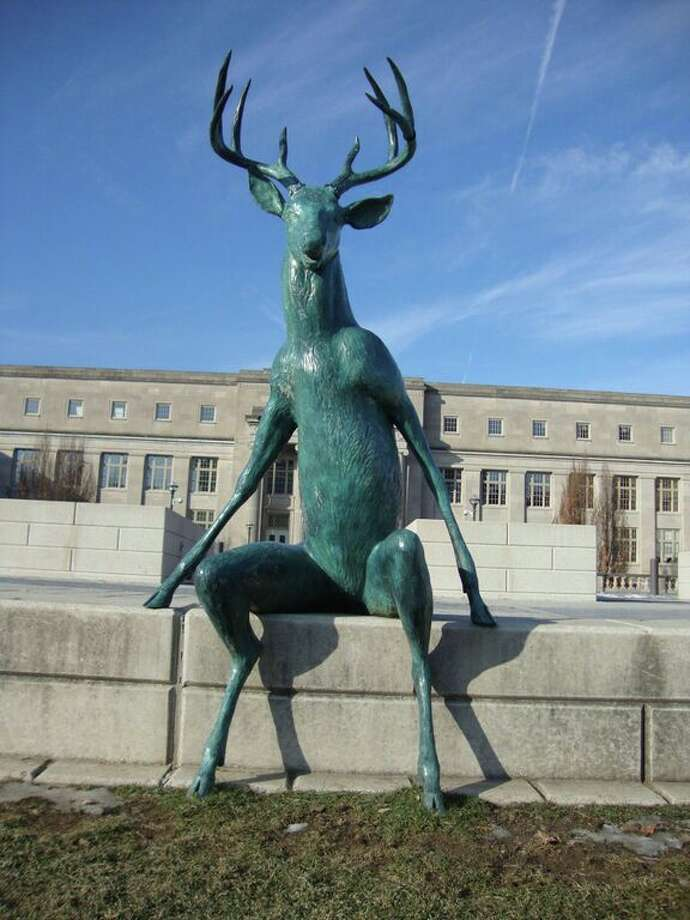 This sculpture of a deer is part of the new public art display on the river in Columbus, Ohio. Photo: Robin Soslow / For The Express-News