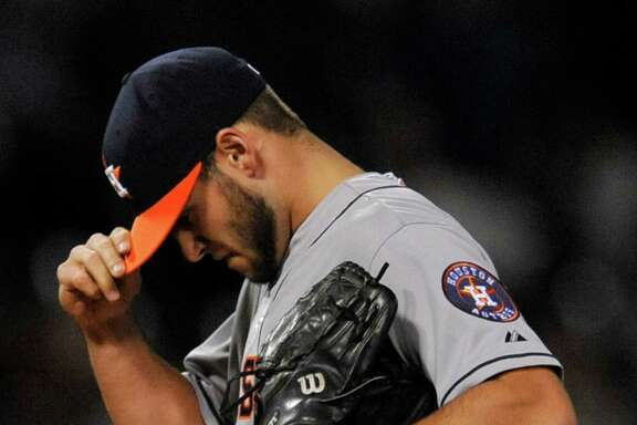 Houston Astros starting pitcher Lance McCullers reacts after giving up a two-run home run to Chicago White Sox's Avisail Garcia during the fourth inning of a baseball game Monday, June 8, 2015, in Chicago. (AP Photo/Paul Beaty)