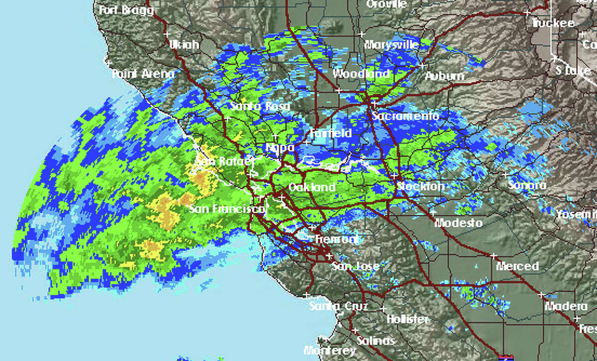 National Weather Service radar shows light to moderate rain covering the San Francisco Bay Area Wednesday morning.
