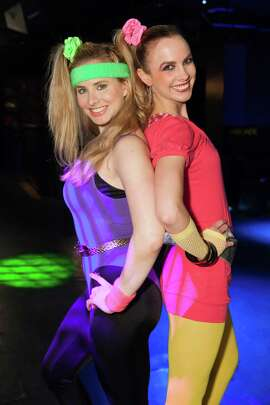 Elizabeth Sgarella and Michelle Bertino at the Spinsters' Party Like It's 1985 charity event on May 30, 2015.
