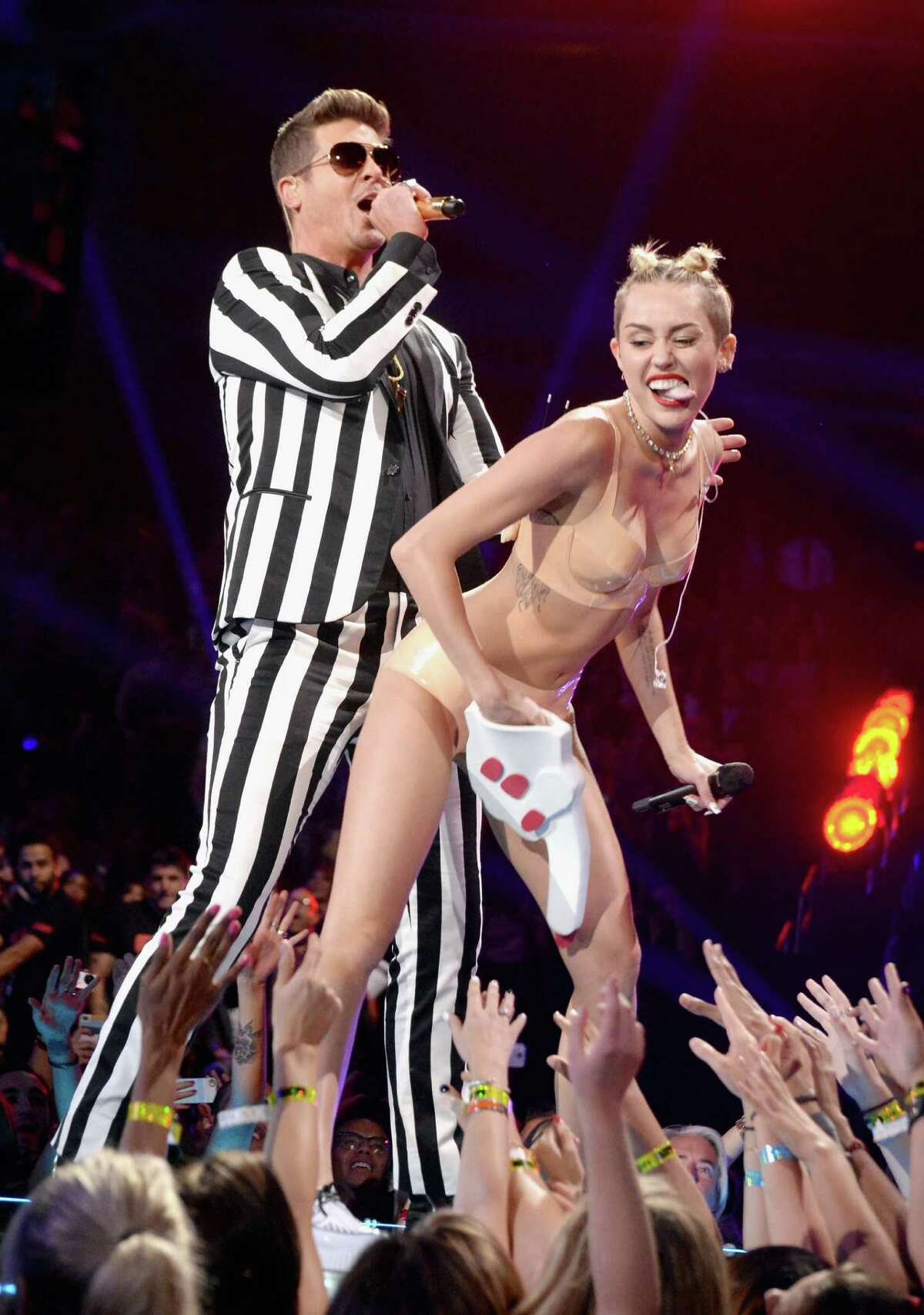 Had we any doubts about where her career was heading, Miley Cyrus removed them at the 2013 MTV Video Music Awards. But then twerking with Robin Thicke will do that for you. And you historians out there, this took place at the Barclays Center on Aug. 25, 2013 in Brooklyn