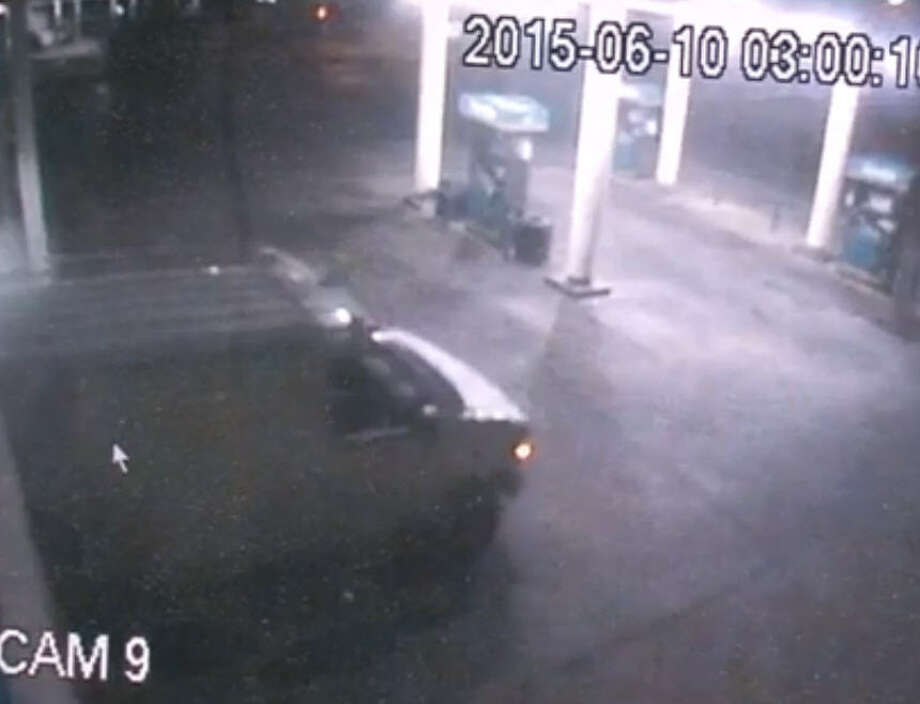 Police are searching for six men suspected of ramming a van into a northeast Houston gasoline station early Wednesday morning and speeding away with the store's ATM. Photo: Metro Video