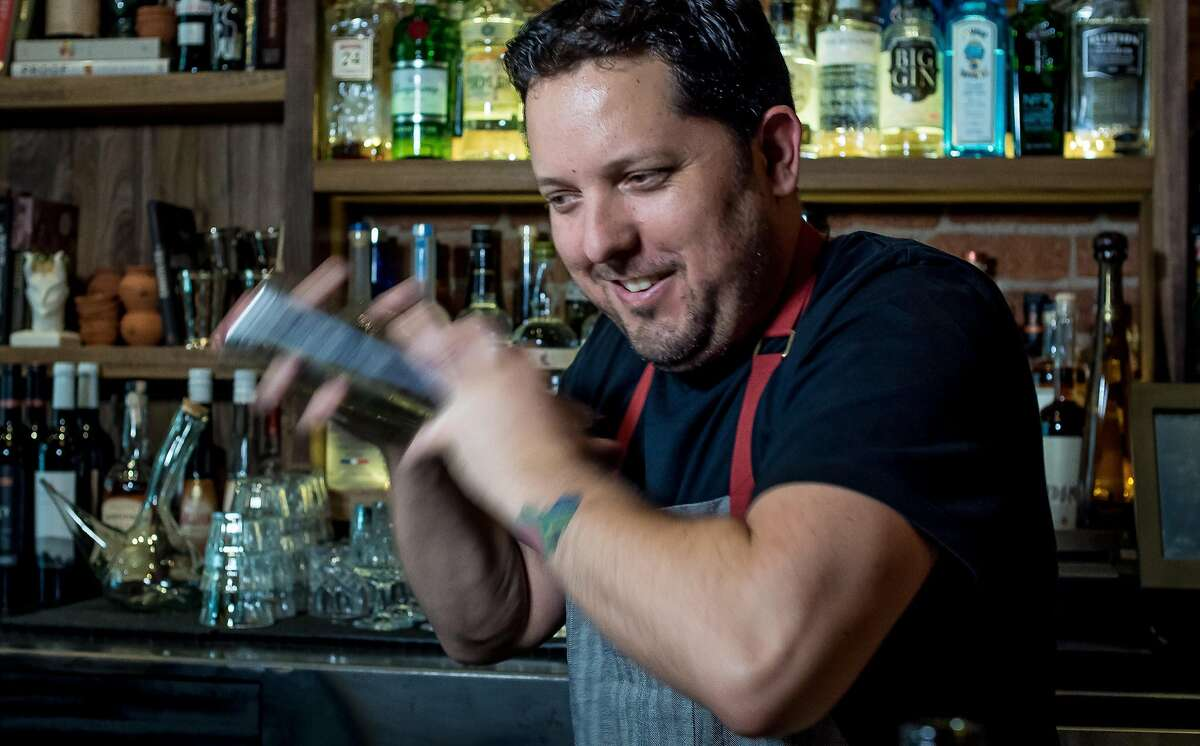 Bartender Jacques Bezuidenhout shakes the El Vampiro cocktail at Forgery in San Francisco, Calif., on June 9th, 2015.