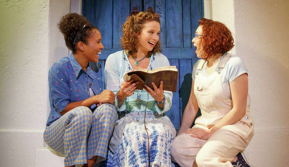 "Olivia Ashley Reed (from left), Chelsea Williams and Emily Price play best friends reuniting for a wedding in the touring production of ""Mamma Mia!"" Photo: Courtesy Photo / ©2014, Joan Marcus"