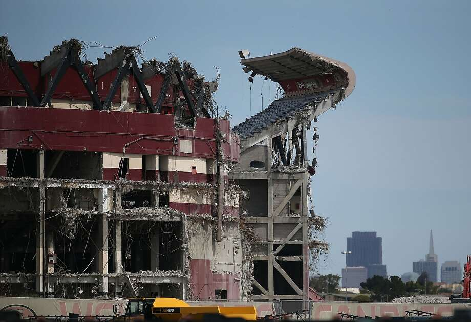 The San Francisco 49ers left the city and Candlestick Park was demolished. The San Francisco 49ers played at Candlestick Park from 1971 to 2013, before moving to new digs in Santa Clara at Levi's Stadium. In this photo, a section of Candlestick Park remains standing as demolition continues on June 9, 2015. Photo: Justin Sullivan, Getty Images