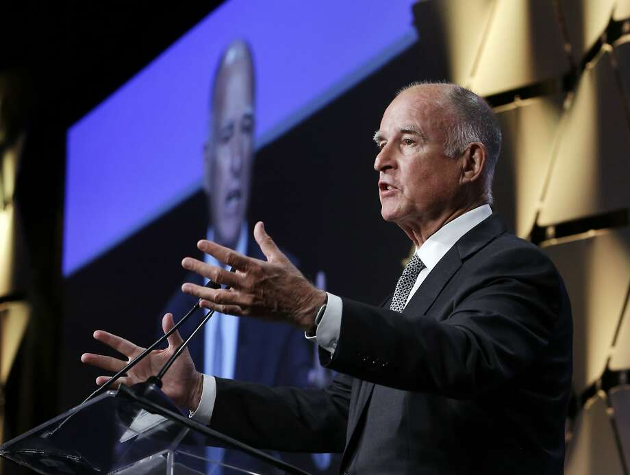 Gov. Jerry Brown waxes poetic about the many wonders of water. Photo: Rich Pedroncelli, Associated Press