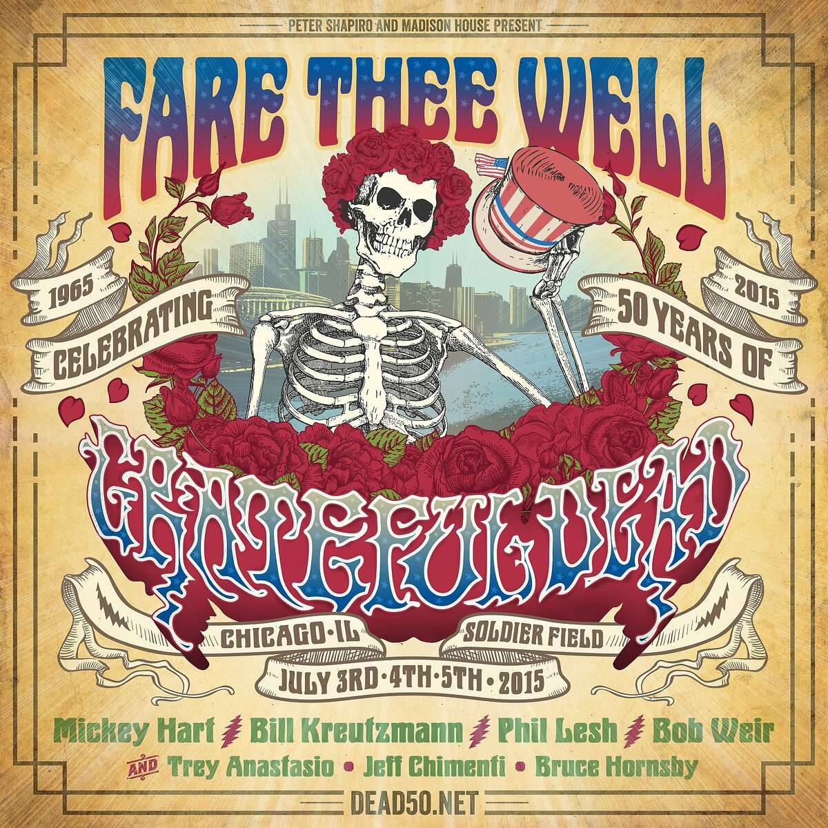 """Grateful Dead, """"Fare Thee Well"""" banner."""