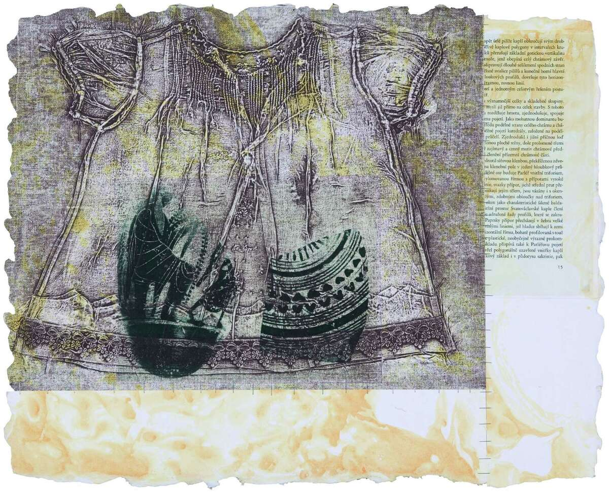 """Sandria Hu""""s chine collé etching """"Archeological Dress #4"""" (17é x 23) is among works on view through July 25 at Hunte/rGather Project in the show """"Fresh."""""""