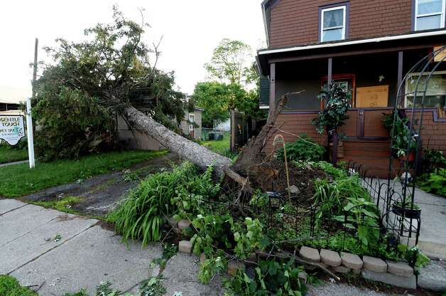 A tree was uprooted on Vley Street Wednesday morning June 10, 2015 after a EF 0 tornado blew through the area yesterday in Scotia, N.Y.   (Skip Dickstein/Times Union) Photo: SKIP DICKSTEIN