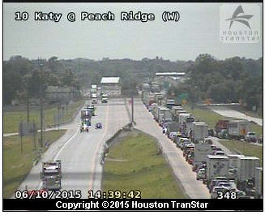 Interstate 10 near Sealy is closed in both directions due to damage to a bridge column caused by an 18-wheeler, officials said. Photo: Houston TranStar