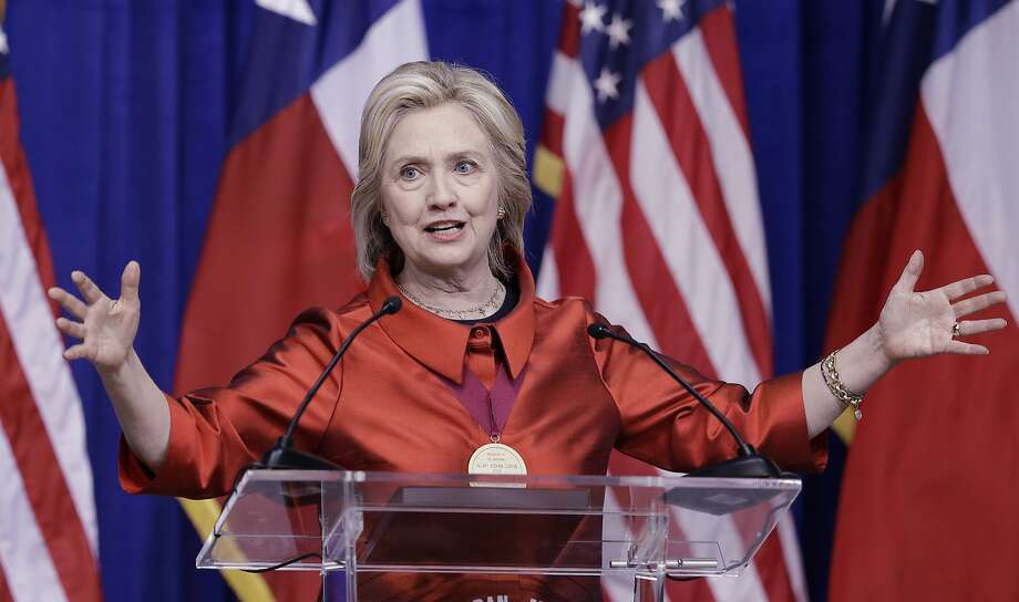 Democratic presidential candidate Hillary Rodham Clinton delivers a speech at Texas Southern University in Houston, Thursday, June 4, 2015. Clinton is calling for an expansion of early voting and pushing back against Republican-led efforts to restrict voting access, laying down a marker on voting rights at the start of her presidential campaign. (AP Photo/Pat Sullivan) Photo: Pat Sullivan, Associated Press