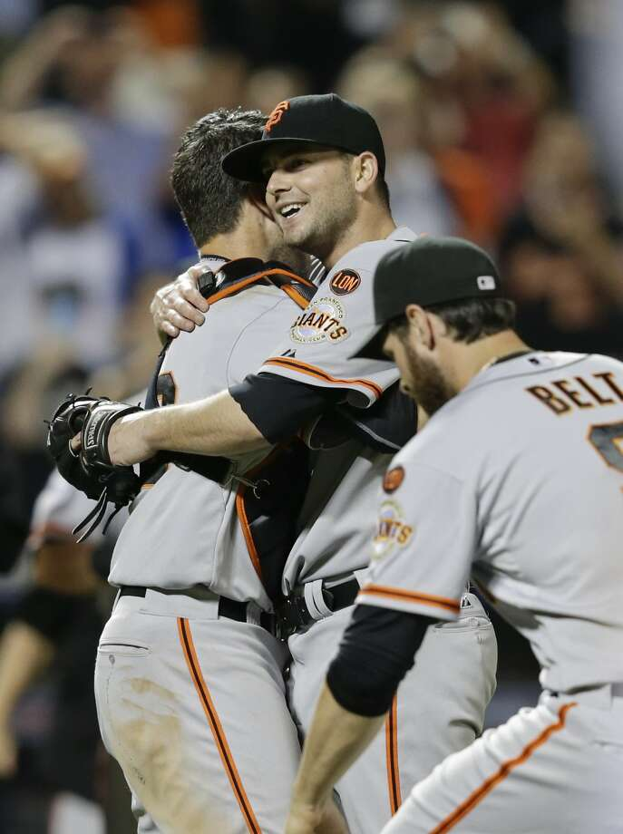 San Francisco Giants starting pitcher Chris Heston, center, celebrates with teammates after he threw a no-hitter against the New York Mets in a baseball gameof a baseball game Tuesday, June 9, 2015, in New York. The Giants won 5-0. (AP Photo/Frank Franklin II) Photo: Frank Franklin II, Associated Press