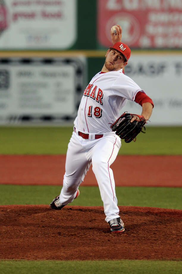 Lamar's Collin Chapman, who went 0-2 with a 4.33 ERA this past season for the Cardinals, was selected in the 33rd round No. 988 overall by the Tampa Bay Rays on Wednesday.  Lamar's Collin Chapman will take the mound in the second game of the Cardinals' three game series against Sam Houston State on Friday.  Lamar's Collin Chapman, No. 18, throws against a Marist hitter during Friday's game. The Lamar University baseball team played Marist in their season opener on Friday afternoon.  Photo taken Friday, 2/14/14  Jake Daniels/@JakeD_in_SETX     Manditory Credit, No Sales, Mags Out, TV OUT, Web: AP Members Only     ####### Photo: Jake Daniels / ©2013 The Beaumont Enterprise/Jake Daniels