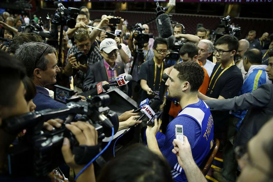 Golden State Warriors' KlayThompson during NBA Finals' media availability at Quicken Loans Arena in Cleveland, Ohio, on Wednesday, June 10, 2015. Photo: Scott Strazzante, The Chronicle