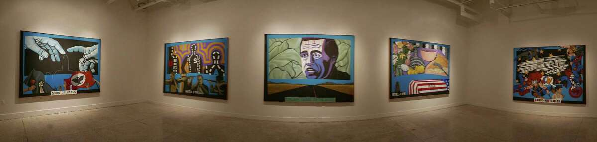 """From left, Humanscape 63 (Show of Hands), Humanscape 49 (Meta-Ethics), Humanscape 73 (Chicano Image on the Move), Humanscape 47 (Still Life) and Humanscape 70 (Comic Whitewash) are part of the �""""Getting the Big Picture: Mel Casas and Politics of the 1960s and 1970s"""" art exhibition at the Guadalupe Cultural Arts Center's Museo Guadalupe. The show will be on display June 5 - October 24."""