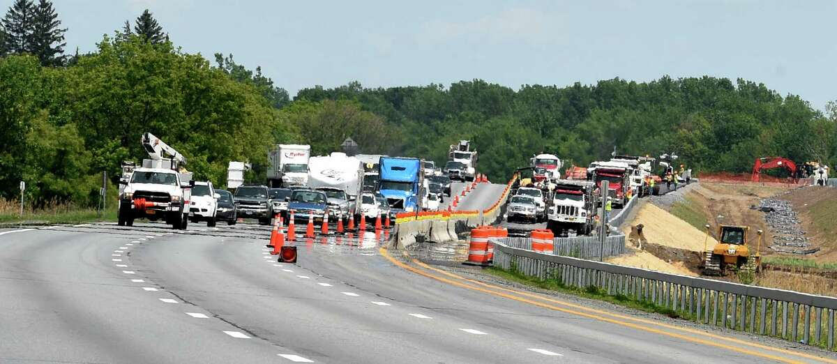 Looking north in the southbound lane of Interstate 87 Wednesday afternoon June 10, 2015 in Loudonville, N.Y. (Skip Dickstein/Times Union)