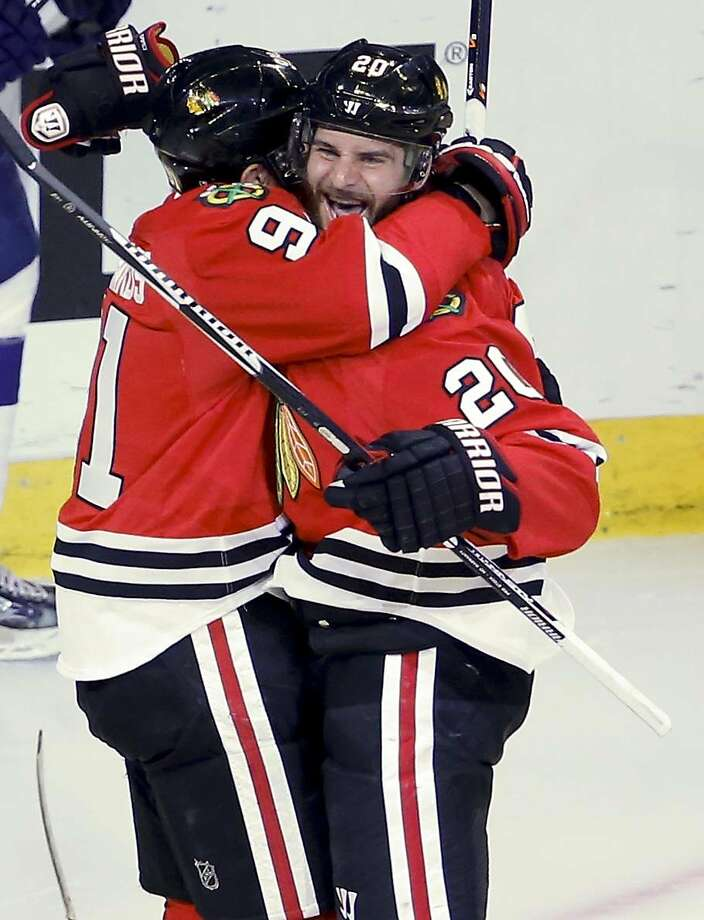 Brandon Saad celebrates his goal that put Chicago in front. Photo: Charles Rex Arbogast, Associated Press