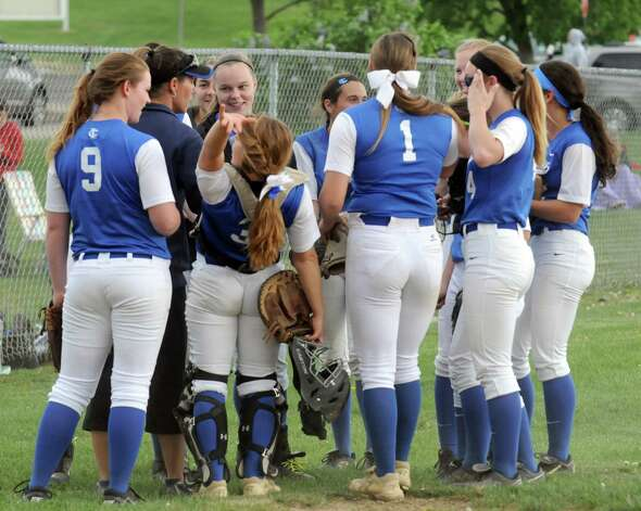 The Ichabod Crane's girl's high school softball team celebrates their 1-0 win against Cohoes on Wednesday May 13, 2015 in Cohoes, N.Y.  (Michael P. Farrell/Times Union) Photo: Michael P. Farrell / 00031801A