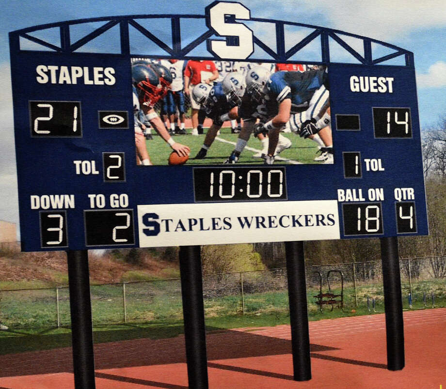 A depiction of the new larger, video-enhanced scoreboard approved for the Staples High School football field. Photo: Jarret Liotta / Jarret Liotta / Westport News