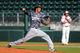 West Orange-Stark's Aidan Anderson, No. 18, throws against an El Campo hitter during Wednesday's game. The West Orange-Stark Mustangs took on the El Campo Ricebirds at UFCU Disch-Falk Field in Austin. The Mustangs beat out the Ricebirds to move onto Thursday's championship game. Photo taken Wednesday 6/10/15 Jake Daniels/The Enterprise
