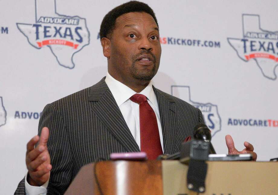 Texas A&M Aggies head football coach Kevin Sumlin speaks at a Touchdown Club luncheon at the Westin Galleria Wednesday, June 10, 2015, in Houston. ( Jon Shapley / Houston Chronicle ) Photo: Jon Shapley, Staff / Houston Chronicle / © 2015 Houston Chronicle