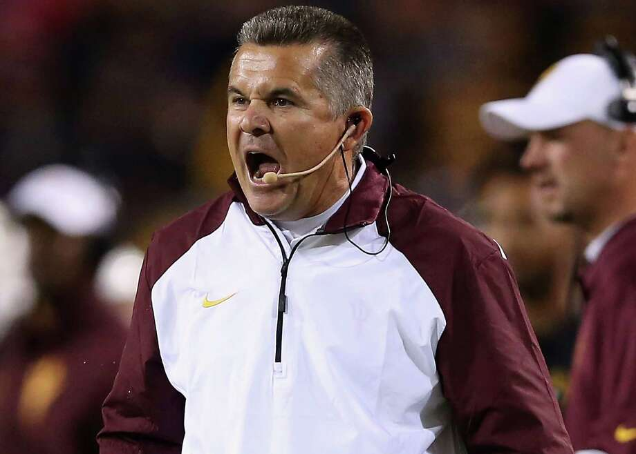 Head coach Todd Graham of the Arizona State Sun Devils reacts on the sidelines during the college football game against the Arizona Wildcats at Sun Devil Stadium on November 30, 2013 in Tempe, Arizona. The Sun Devils defeated the Wildcats 58-21. Photo: Christian Petersen /Getty Images / 2013 Getty Images