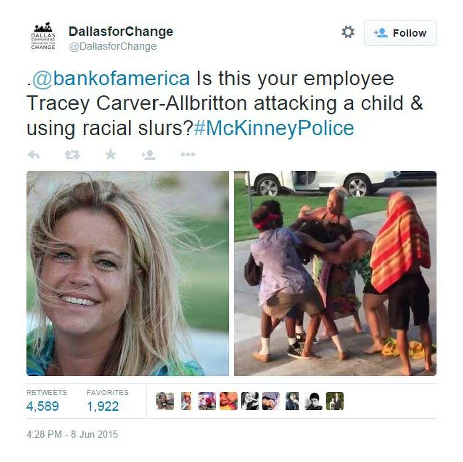 CoreLogic, a California-based financial data and analytics company, has placed Tracey Carver-Allbritton on administrative leave for her part in a controversial pool incident in McKinney that went viral after footage surfaced of a police officer pinning down a 15-year-old black girl. Carver-Allbritton allegedly made racial remarks that sparked the fight, shown in a video uploaded to YouTube. Photo: Screenshot Via Twitter
